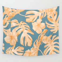 Island Hibiscus Palm Coral Teal Blue Wall Tapestry