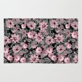 Nostalgic Floral Pattern On Black Rug