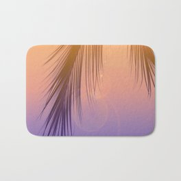 Palm Leaf Silhouette Orange Violet Background #decor #society6 #buyart Bath Mat