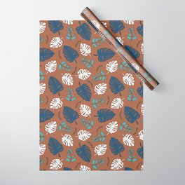 Sweet jungle palm leaves and monstera garden botanical print blue Wrapping Paper