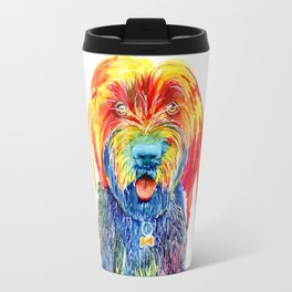 Colorful Tie Dye Wirehaired Pointing Griffon Travel Mug