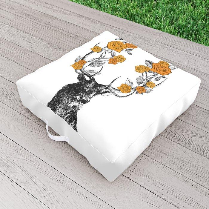 The Stag and Roses | Deer and Flowers | Orange | Vintage Stag | Vintage Deer | Antlers | Woodland | Outdoor Floor Cushion