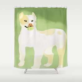 Pit Bull Fetch! Shower Curtain