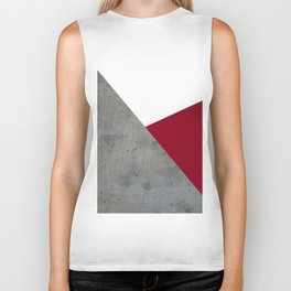 Concrete Burgundy Red White Biker Tank