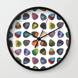 Guitar Picks Watercolor Wall Clock