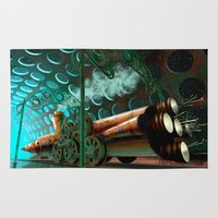 steam punk Area & Throw Rugs featuring Steam Train Punk by Goodson Productions
