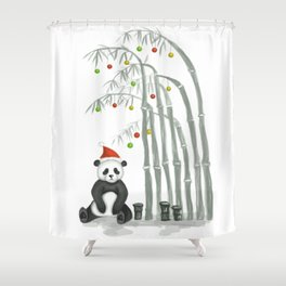 Christmas Panda Shower Curtain