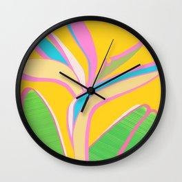 Bird of Paradise III - Bright Tropical Flower Wall Clock