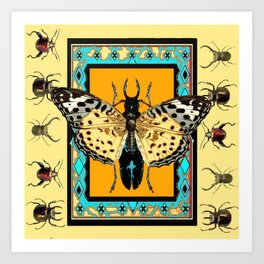 BUTTERFLY WESTERN YELLOW-ORANGE-TURQUOISE INSECT  PATTERNS Art Print