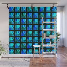 Interweaving tile of light blue intersecting rectangles and luminous bricks. Wall Mural