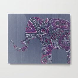 Paisley Elephant Metal Print