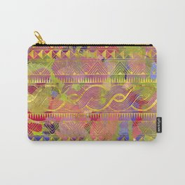 Gold Tribal Pattern on Pastel and Purple painted texture Carry-All Pouch
