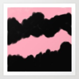 Artistic abstract black coral pink watercolor brushstrokes Art Print