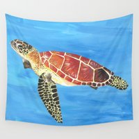 sea turtle Wall Tapestries featuring Sea Turtle by Always Add Color