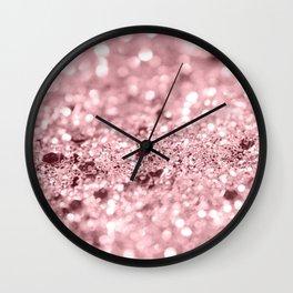 Rose Gold Blush Girls Glitter #1 #shiny #decor #art #society6 Wall Clock