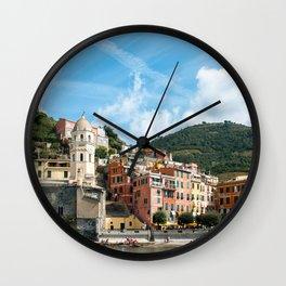 Cinque Terre, Vernazza Village | Mediterranean Coast, Italy | Pastel colorful travel photography in Europe | Art Print Wall Clock