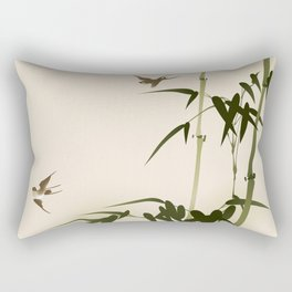 Oriental style bamboo branches 001 Rectangular Pillow