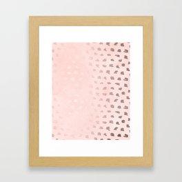 Rose Gold Pastel Pink Foil Paint Line Dots II Framed Art Print