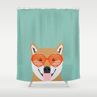 shiba inu Shower Curtains featuring Shiba Inu Love - Gifts for pet owners dog person gifts shiba inu gifts customizable dog gifts cute by PetFriendly