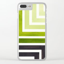 Sap Green Minimalist Inca Geometric Mid Century Modern Watercolor Pattern Maze Clear iPhone Case