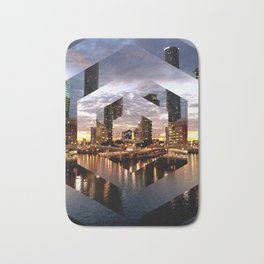 Beautiful Geometric Brisbane River Print Bath Mat