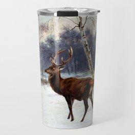 Deer And Doe In A Snowy Landscape - Digital Remastered Edition Travel Mug