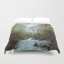 Peaceful Forest, Green Trees and Creek, Relaxing Water Sounds Duvet Cover