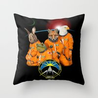 starfox Throw Pillows featuring STARFOX - The Lylat Space Program by John Medbury (LAZY J Studios)