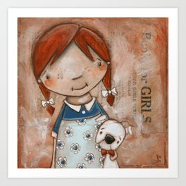 Her Favorite Fella - Red-haired girl and white boxer Art Print