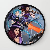 league of legends Wall Clocks featuring League of Legends Gunners by Arnix