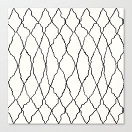 Moroccan Diamond Weave in Black and White Canvas Print