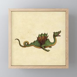 Medieval Green Dragon Framed Mini Art Print