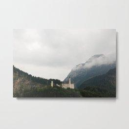Neuschwanstein Castle in the Clouds Metal Print
