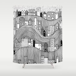 Hill Village - b&w Shower Curtain