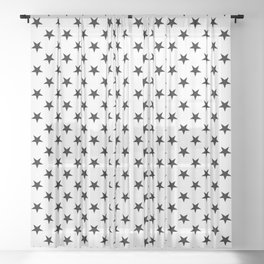 Black on White Stars Sheer Curtain