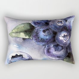 Watercolor Blueberries - Food Art Rectangular Pillow