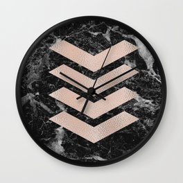 Black marble & rose gold chevrons Wall Clock