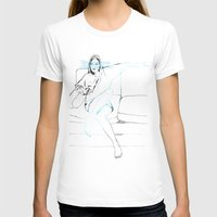 sofa T-shirts featuring Girl on the sofa by Anastasia Efthias