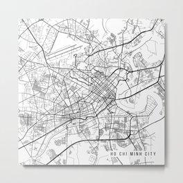 Ho Chi  Minh City Map, Vietnam - Black and White Metal Print