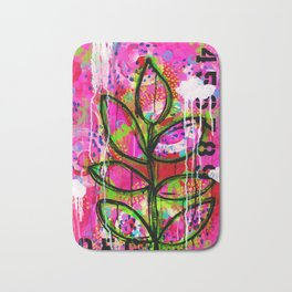 Leaves painting - Abstract Bath Mat