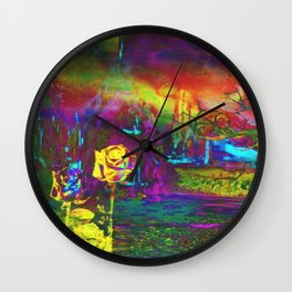"""""""Otherworld Citrus Rose"""" by surrealpete Wall Clock"""