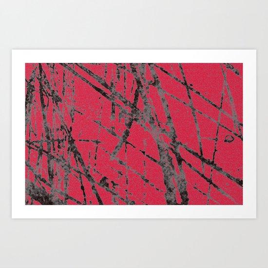 red black scratchy grunge Art Print