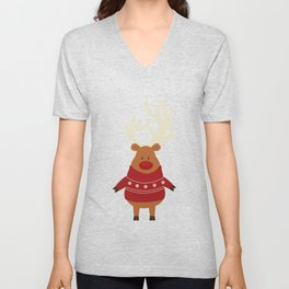 Rudolph Red Nosed Reindeer in Ugly Christmas Sweaters Unisex V-Neck