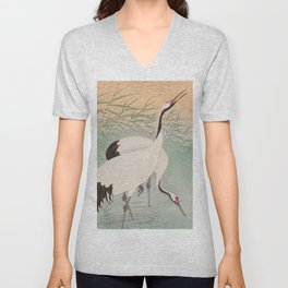 Two cranes in the lake - Japanese vintage woodblock print Unisex V-Neck