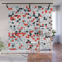 The accent color - Random pixel pattern in red white and blue Wall Mural