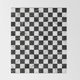 Marble Checkerboard Pattern - Black and White Throw Blanket
