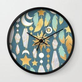 Bohemian spirit // dark turquoise background Wall Clock