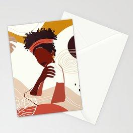 Black Woman Illustration Art, Portrait Print, Black Girl Wall Art, African American Woman Art Stationery Cards
