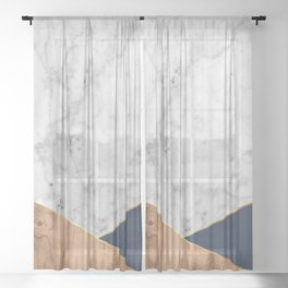 Geometric White Marble - Wood & Navy #599 Sheer Curtain