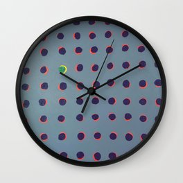 Green floats on yellow - dot graphic Wall Clock